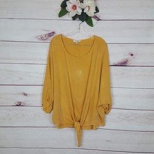 Umgee | Mustard Yellow Waist Tie Blouse